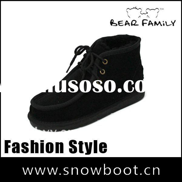 Black leather boot factory price 2012 man casual shoe