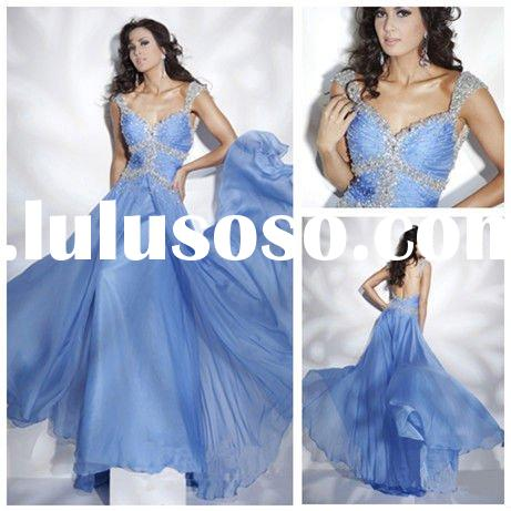 Blue Cap Sleeves Chiffon Beading Hot Sale Womens Party Dresses