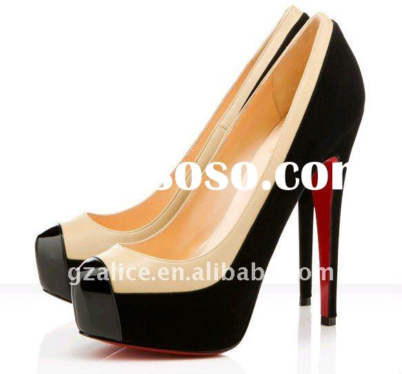 CL224 Hot selling red sole dress shoes,suede leather round toe fashion shoes, black/ivory