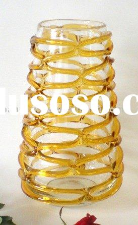 CLEAR GLASS VASE WITH AMBER LINES/wholesale glass vase