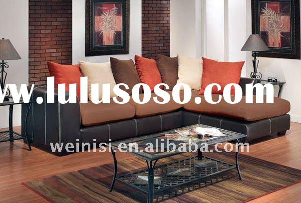 Cheapest fabric and PU corner sofa with cushions FS40#