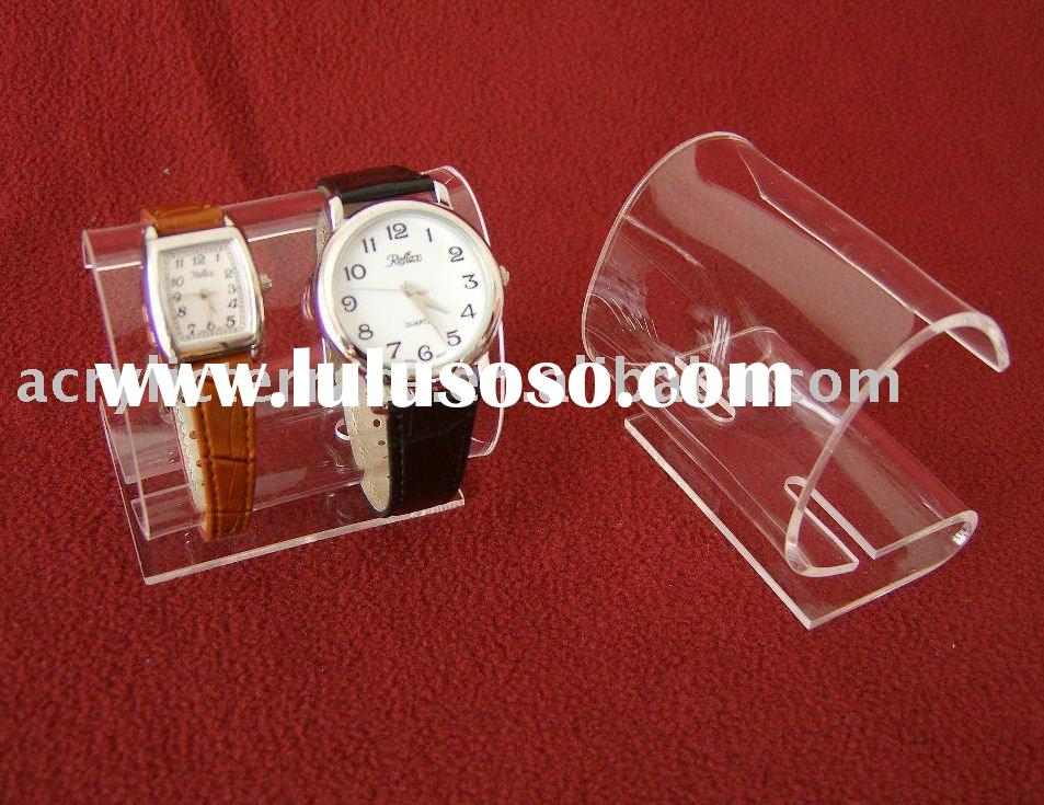 Clear Acrylic Double Watch C-Clip Display Stand
