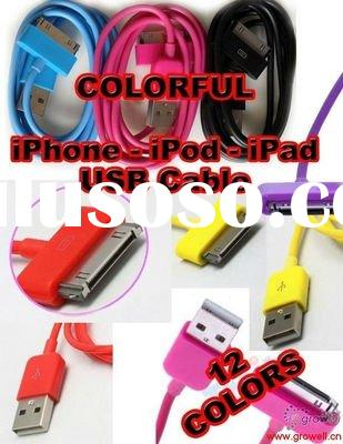 Colorful usb data charging cable for Apple iPhone 4 4G 3G/ 3GS in pink, yellow, blue, orange