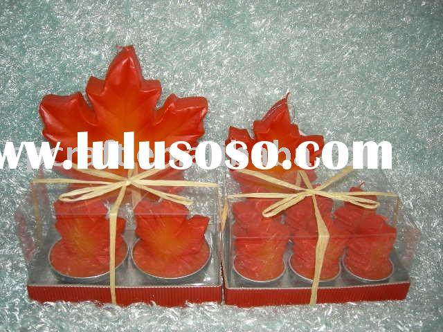 Crafts maple leaf fall autumn harvest candle