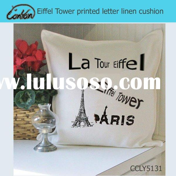 Eiffel Tower printed letter linen cushion