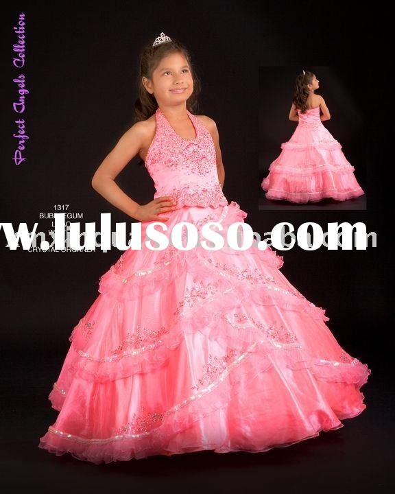 FG027 Free Shipping halter beaded embroidered full crystal pink party dress for children