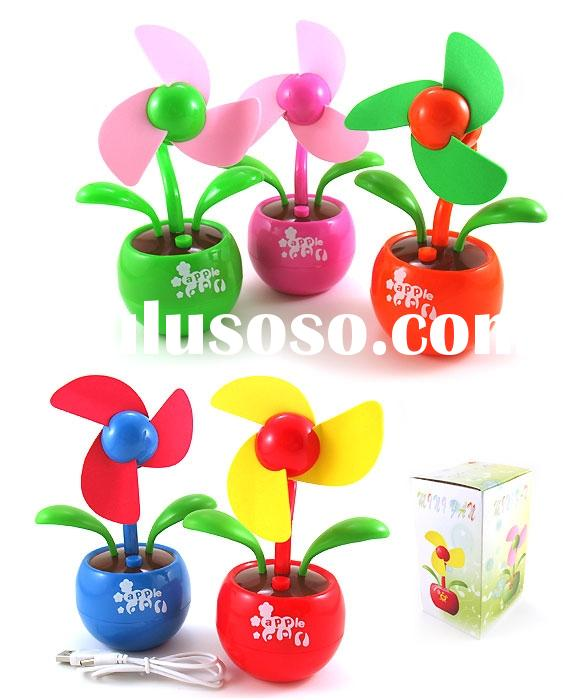 Flower Portable laptop computer usb fan with apple base
