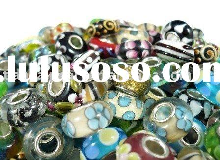 Free shipping ! 925 glass beads with silver core 4.5mm hole fit charm bracelet