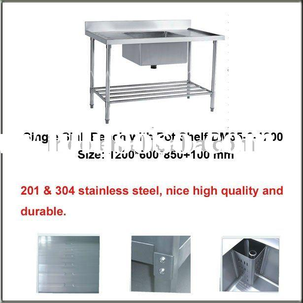 Freestanding Kitchen Stainless Steel Single Sink