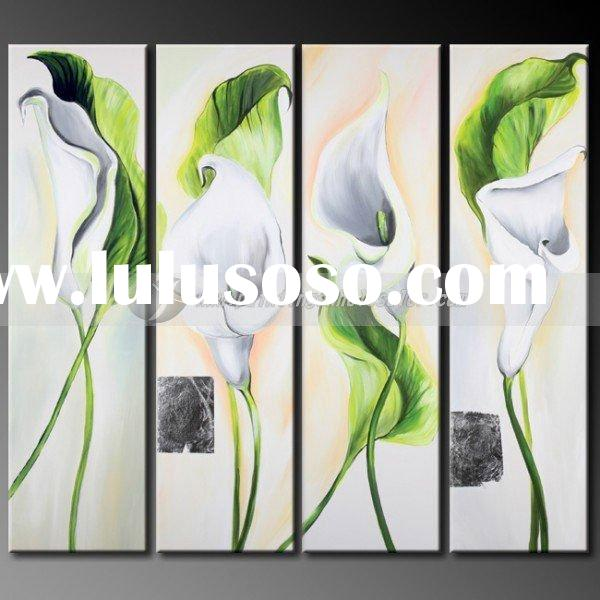 Fresh Decoration,Modern Group Floral Art Painting,Green,White,Calla Lily,Four panels