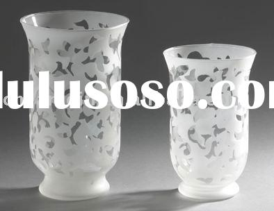Frosted Hurricane Glass Candleholder