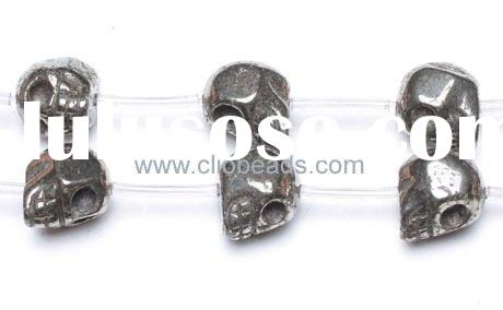 Gemstone Pyrite Skull Beads