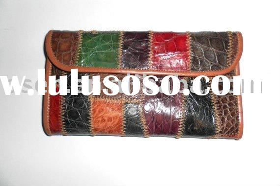 Genuine crocodile leather woman wallet, small purse, multicolor/genuine leather bag
