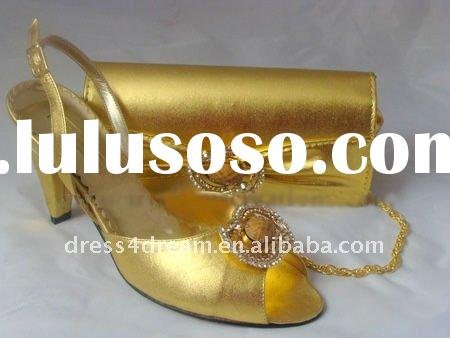 Gold Genuine leather italian matching shoes and bags