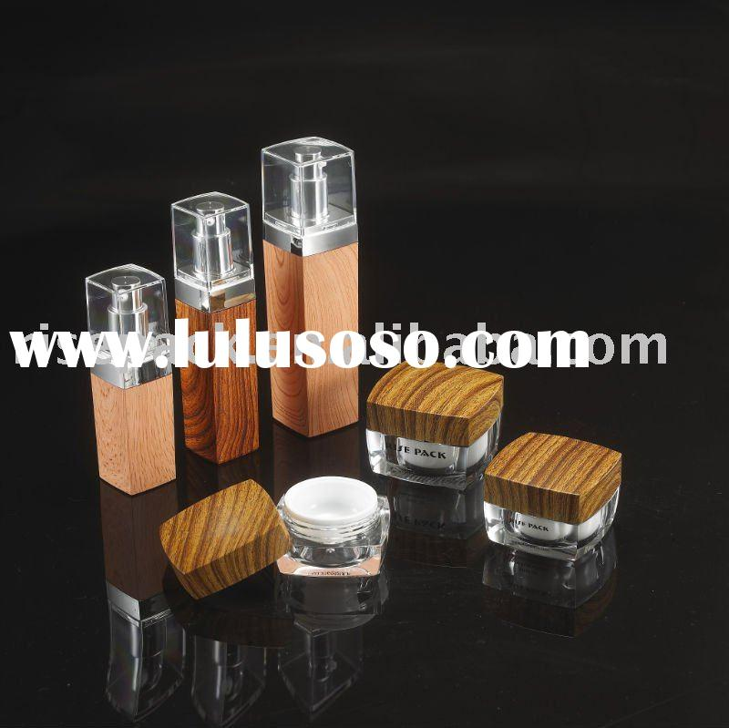 Grained Style Cosmetic Packaging Square Bottle and Cream jar