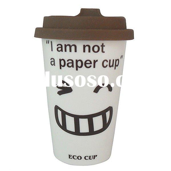 Green Reusable Ceramic Eco Life Coffee Mug Drinks Cup Travel Thermal Mug Set with Silicone Lid &