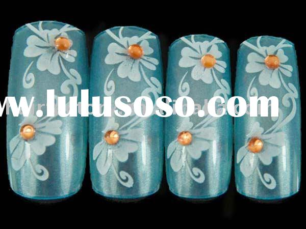 Hand Painted False Nail With Rhinestones,Artificial Finger Nails