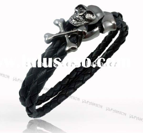 Hiphop Braided Leather with skull Bracelet For Men Fashion Jewelry PI0021