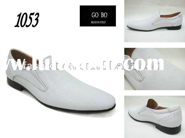 Italian mens whites leather dress shoes