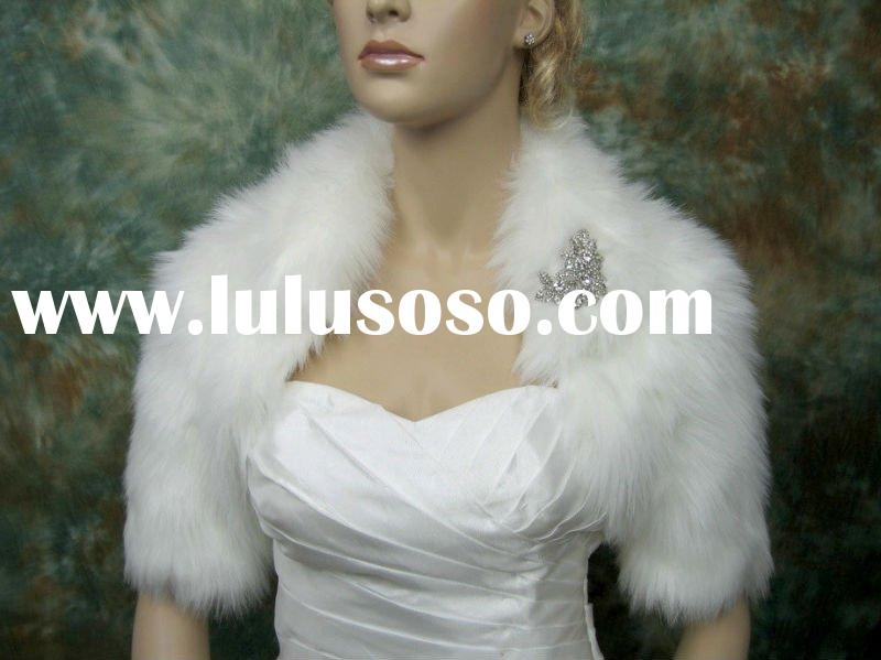Ivory faux fur shawl wedding jacket shrug bolero bridal Wrap DC-A004