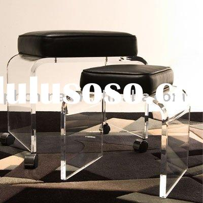 LY-6959 clear lucite chairs with leather cushion, acrylic furniture