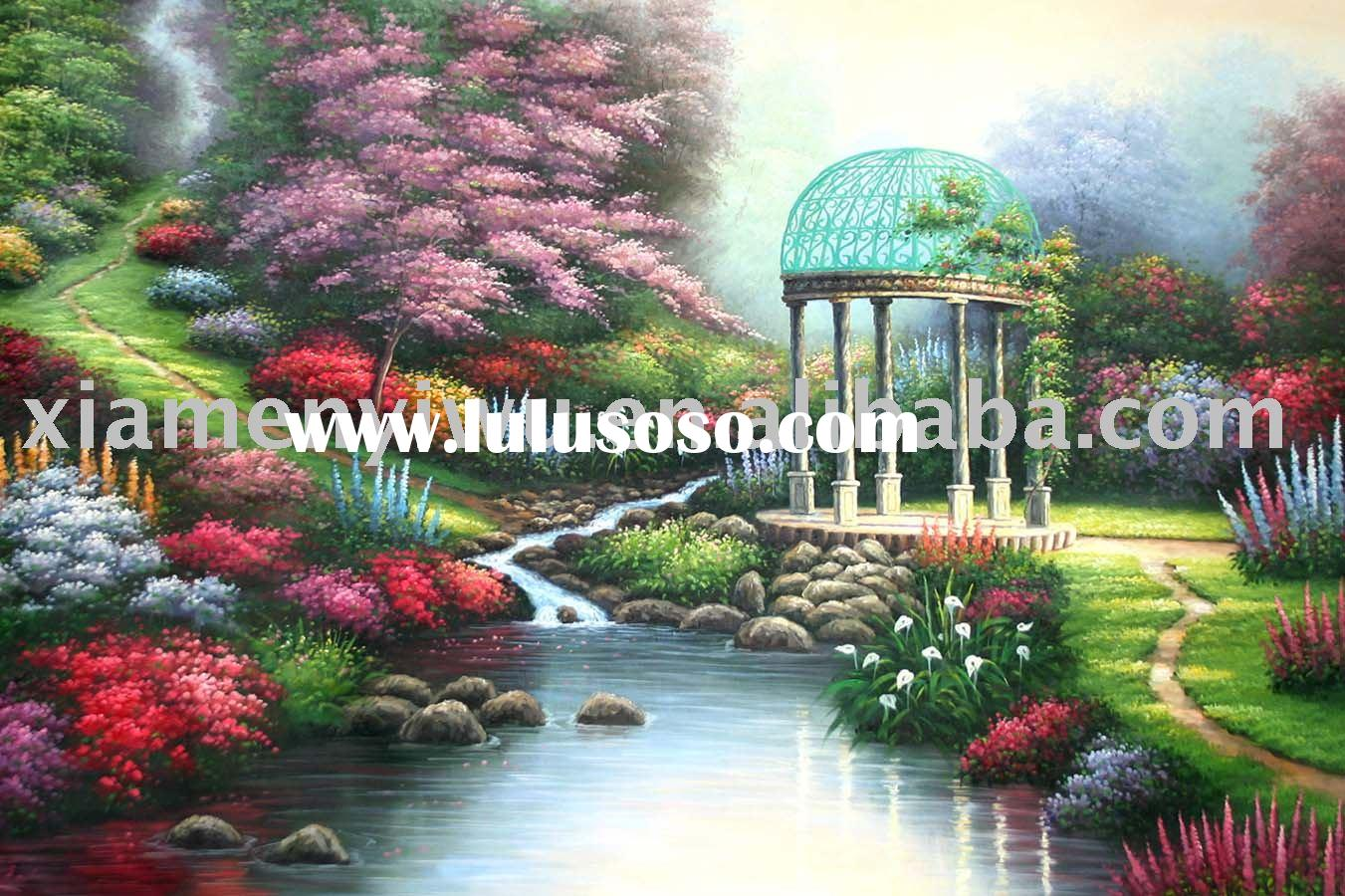 Landscape Oil Painting ,Garden Painting ,Oil Painting ,Canvas, Paintings