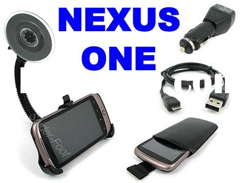 Leather Case+USB Car Charger Cable +Holder Mount for HTC Google Nexus