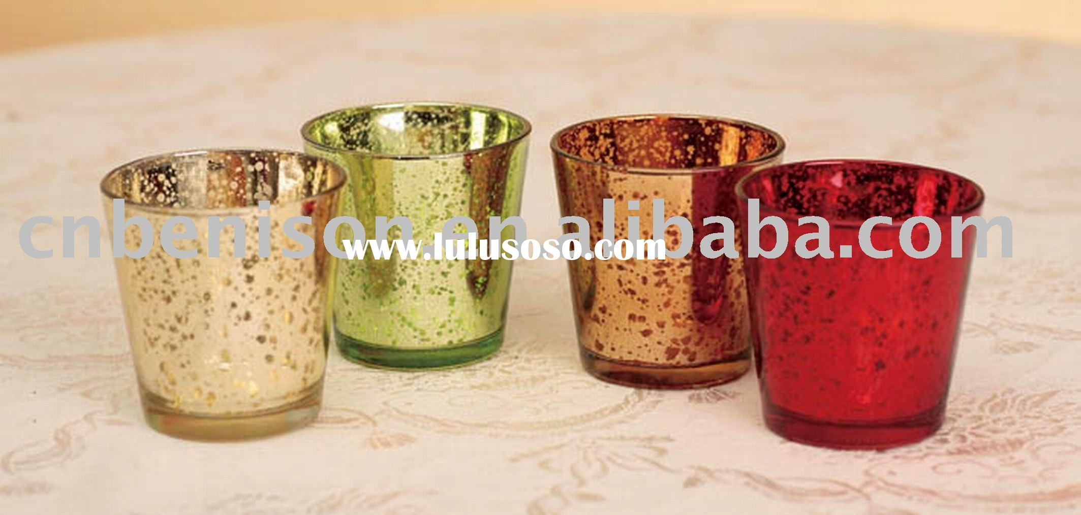 Mercury dollar colorful Glass Candle Holder for table