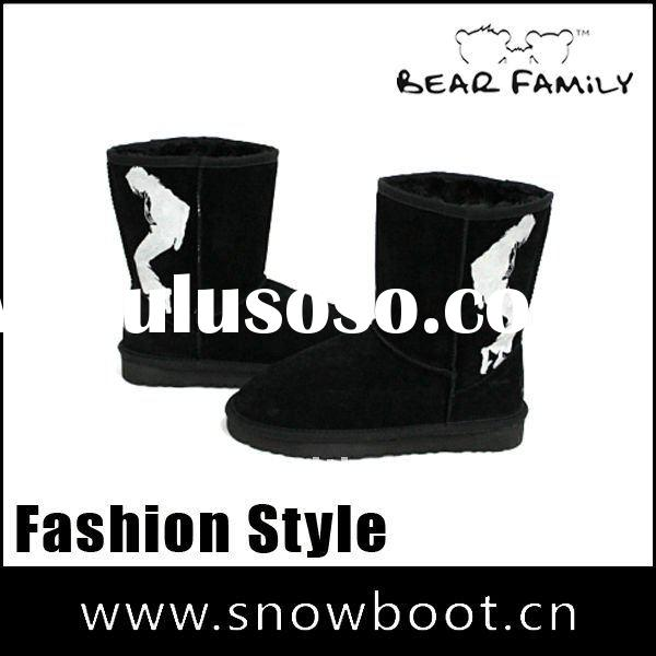 Michael Jackson pattern leather boot winter snow boots for women