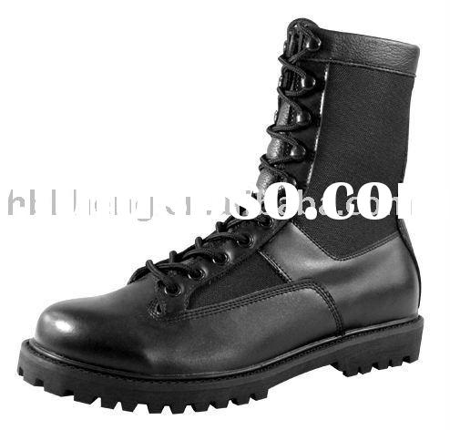 Military Army Police Security Forces Black Leather Ankle Combat Boots