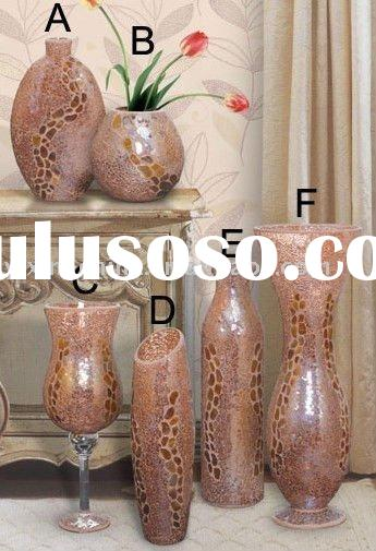 Mink Color Mosaic Glass Flower Vase For Family