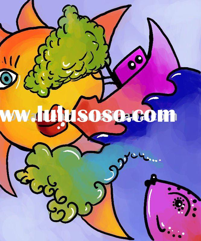 Modern Abstract Fish Oil Painting,Bright Color