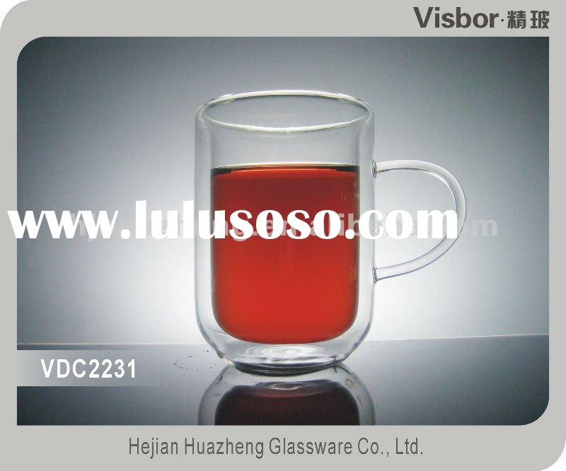 NEW!!! transparent double wall glass mug with handle