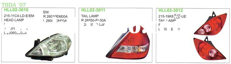 NISSAN TIIDA 2007 auto lamp (head lamp,corner lamp,side lamp,back lamp,front lamp) and body parts