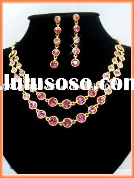 Necklace earring pave rose crystal gold jewelry set