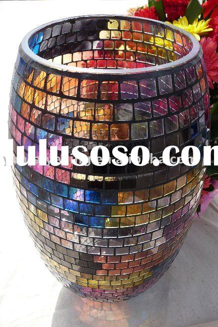 New design Handmade mosaic glass vase in different glass