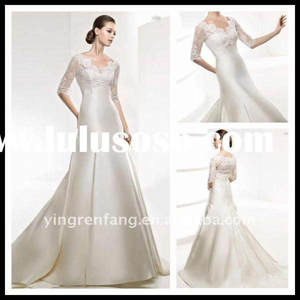 News!!! China Discounted Cheap Fairy Vintage Wedding Dresses In China Satin V-Neck A-Line Lace Brida