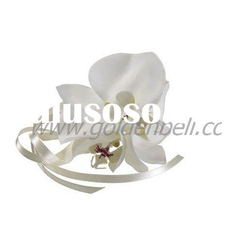 Phalaenopsis Orchid Wrist Corsage in White with Ivory Ribbon