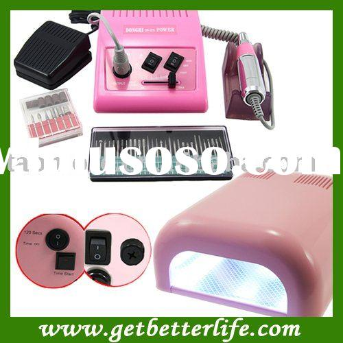 Pink 278 Nail Drill Machine Manicure 12V & Nail UV Lamp Kit