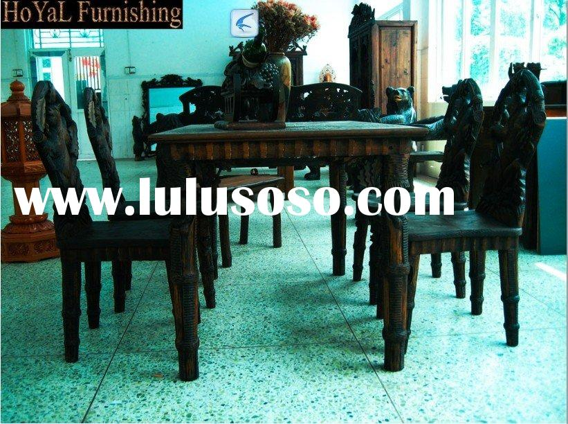 Pure Hand-carved Black Forest Wooden Dining Table