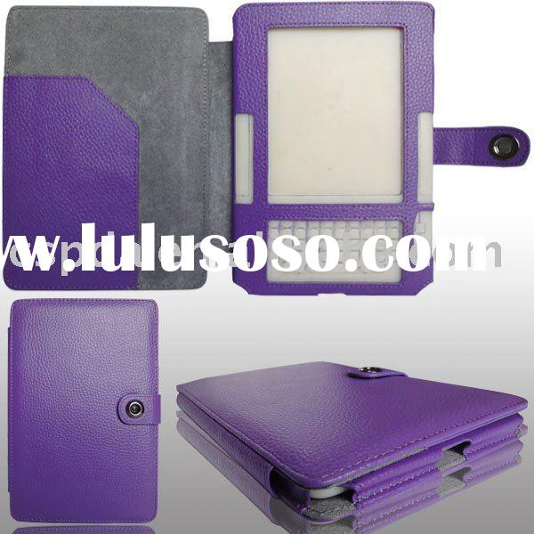 Purple Genuine leather covers for Amazon kindle 2 ebook