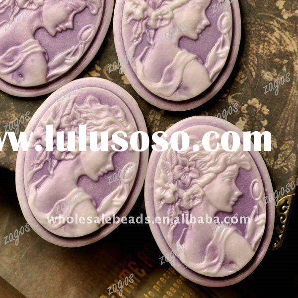 Purple Lady Portrait Resin Cameos RB0730