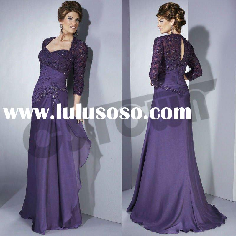 Purple Sweetheart Lace Bride's Mother Dress
