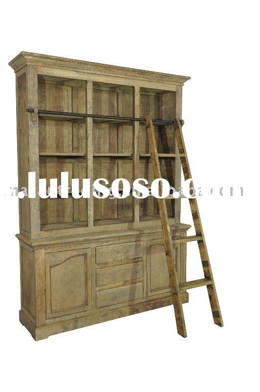 Recycled Elm Wood Book Shelves with ladder