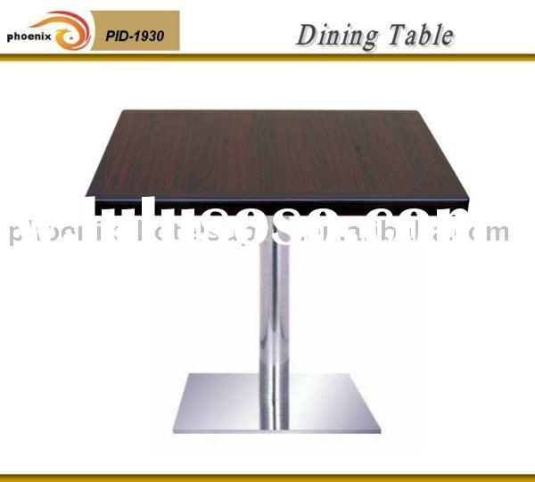 Restaurant Table with wooden table top, stainless steel base