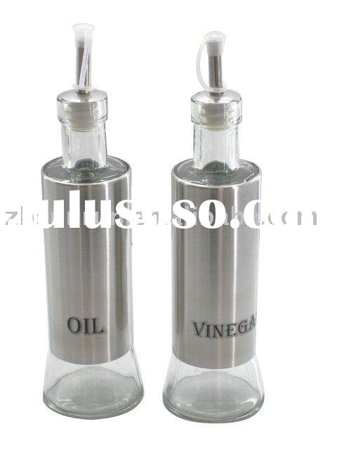 Round Glass oil and vinegar bottle with s/s coating