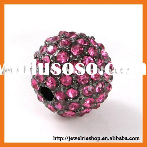 Shamballa Black Rhodium Crystal Diamond Pave Beads Iced Out Disco Ball