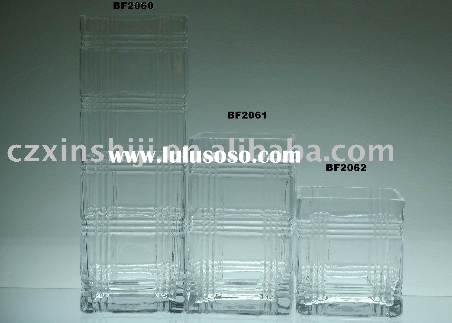 Square clear glass vase