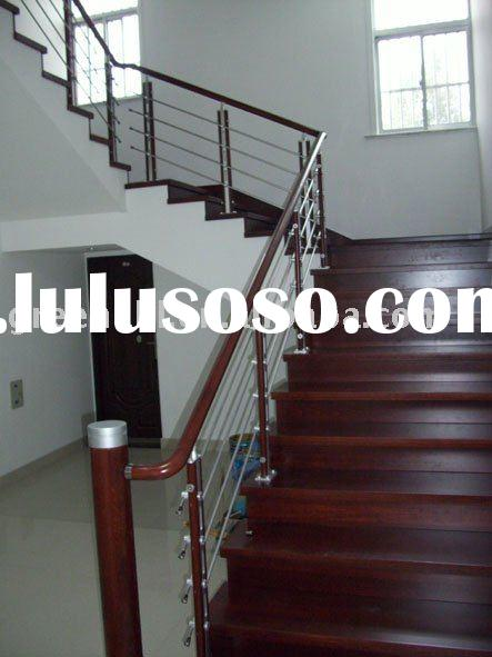 Stainless Steel + wood stair handrail