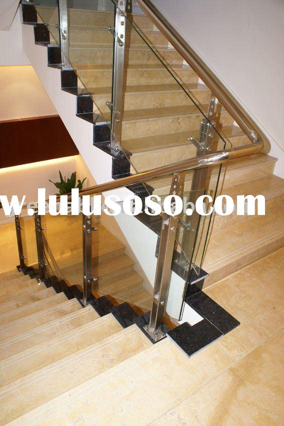 Stainless Steel + wood stair railings